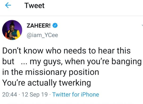 Ycee says, 'guys, when you're banging in the missionary position, you're actually twerking'