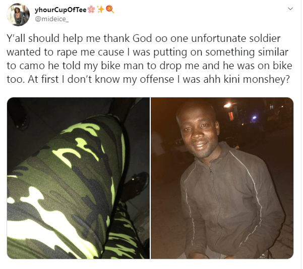 Nigerian lady thanks bikeman for saving her as soldier allegedly tried raping her for wearing a camouflage