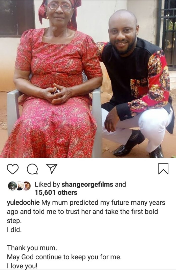 """""""My mum predicted my future many years ago and told me to trust her"""" Yul Edochie says as he shares rare photo with his mum"""