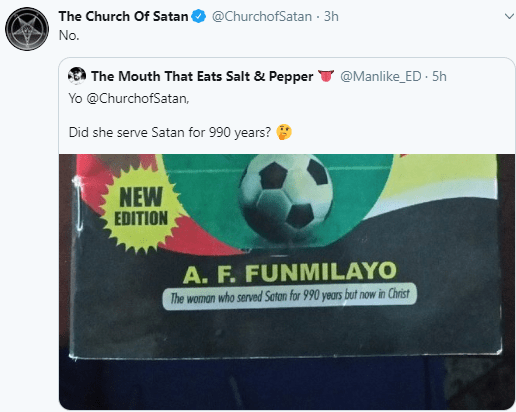 Church of Satan Replies Wale Gates's Comment About a Nigerian Woman Who Claims She Served satan for 990 Years