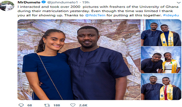 Actor John Dumelo called out for holding waist of University of Ghana student