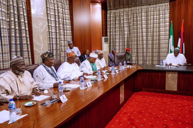 , PHOTOS: Buhari meets with his 1984-1985 ministers, All 9ja