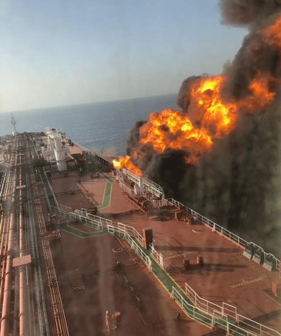 Two missiles hit Iranian oil tanker in