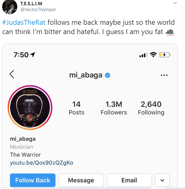 #TheRat VS #TheViper: MI Abaga reacts as Vector leaks their Instagram DM from 2015