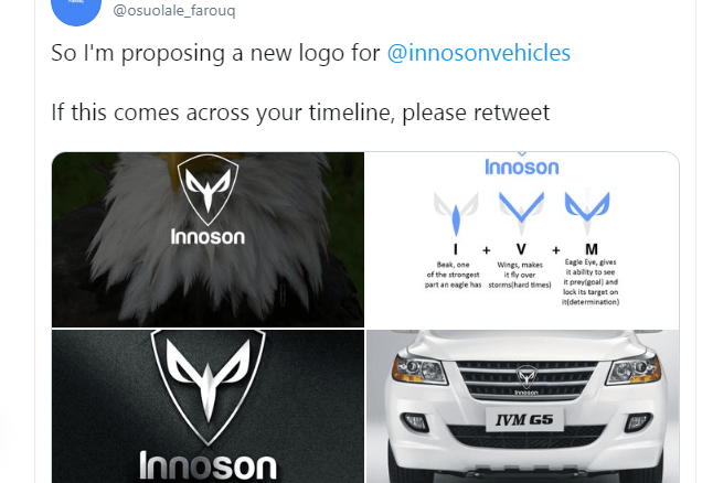 Nigerian man gets Innoson Chairman's attention after he redesigned his brand's logo (photos)
