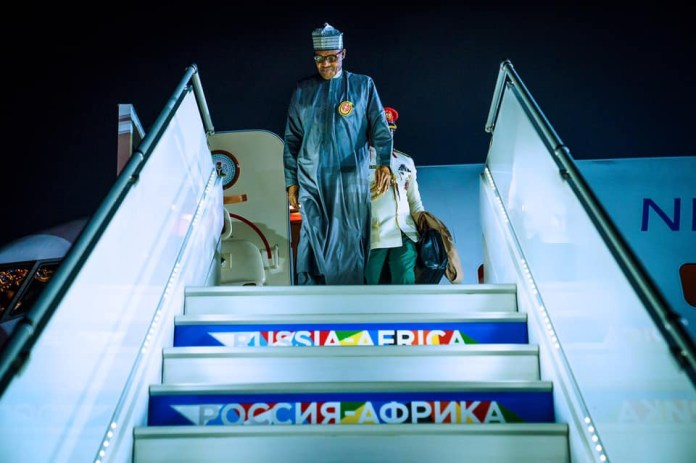 Photos: President Buhari arrives Russia ahead of Russia-Africa Economic forum