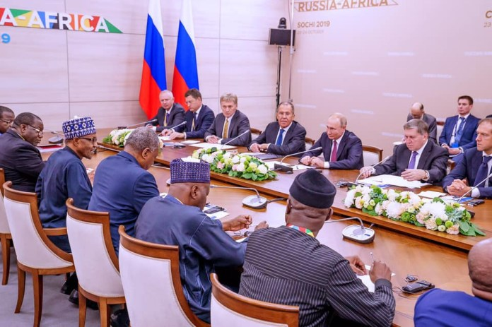 President Buhari holds bilateral meeting with Vladmir Putin in Russia (Photos)
