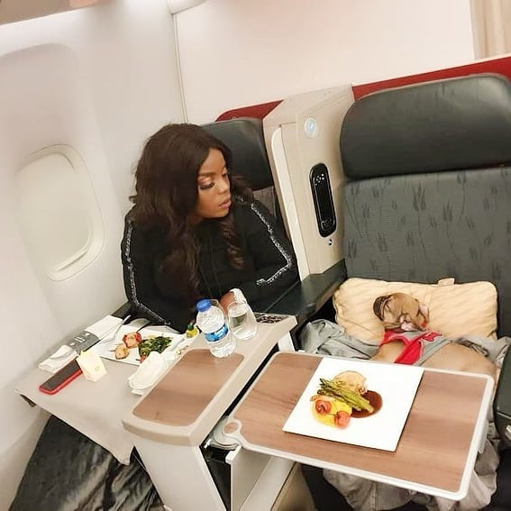 Empress Njamah flies business class with her dog (photos)