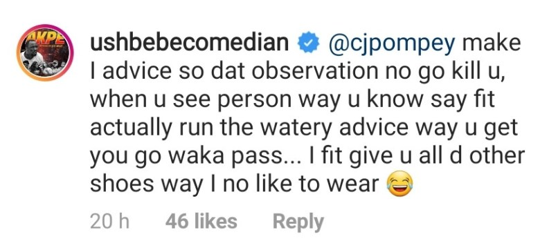 Between Ushbebe and a fan that called him out for having only
