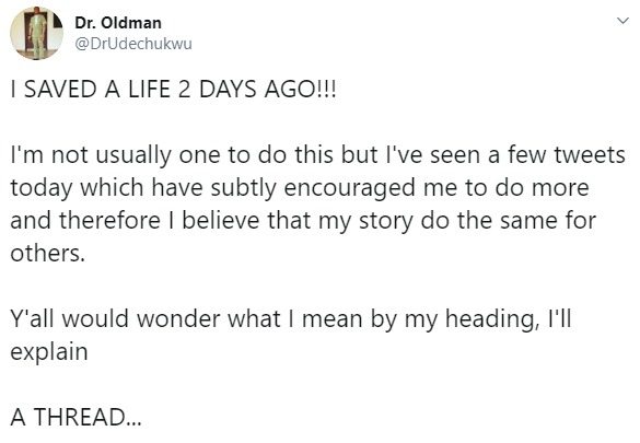 Nigerian medical doctor recounts how he saved the life of a young man who almost died after suffering acute asthmatic attack while walking on the road in Lagos