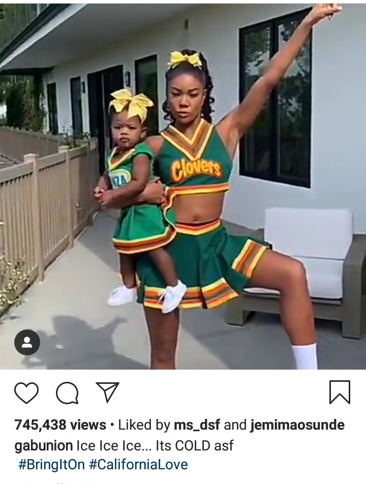 Gabrielle Union twins with her 11-month-old daughter in