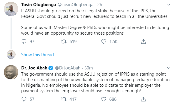 Twitter users react as ASUU meets with the leadership of the National Assembly over payroll system controversy