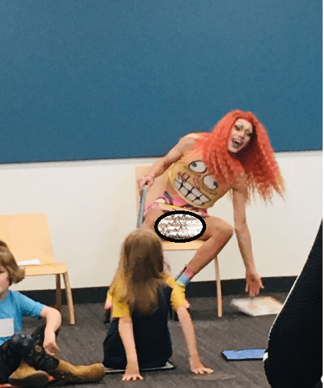 Drag Queen in skirt exposes his crotch to children at ?Story Hour? Event (Photo)