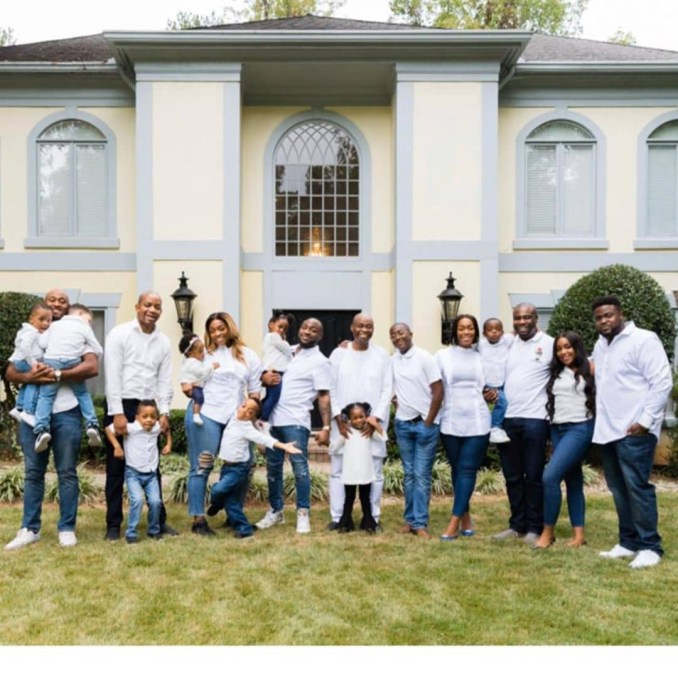 The Adelekes: Davido and his siblings are pictured with their kids and spouses in a family photo with the Adeleke patriarch