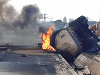 Another tanker fully loaded with petrol crashes in Onitsha