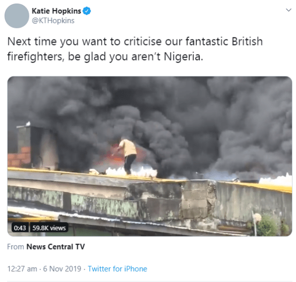 Choi! Kate Hopkins mocks Nigerians and it