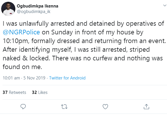 """I  was still arrested, striped naked & locked"" Man accuses the Nigerian police of unlawful arrest"