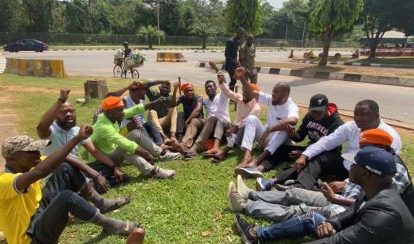 They have refused to release Sowore to us - Deji Adeyanju, other activists stage protest at DSS office (photos)