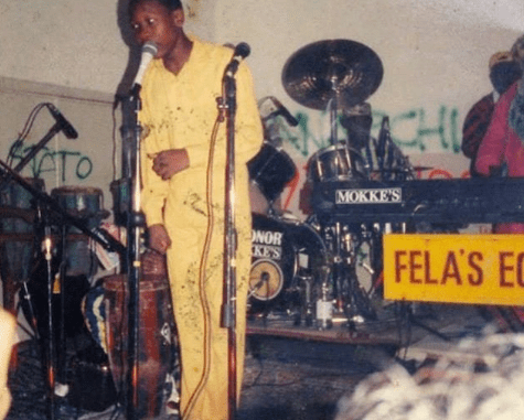 Seun Kuti shares epic throwback photo says, calls veteran journalist Charles Okogene a 'bastard'