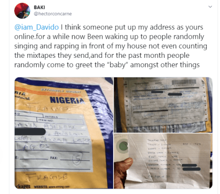 Man whose address was given out as that of Davido online, cries out