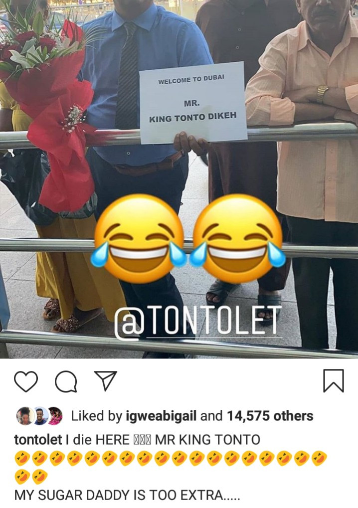 "Tonto Dikeh referred to as ""Mr King Tonto"" on note welcoming her to Dubai"