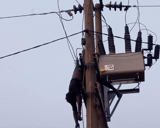 Suspected vandal seen hanging from electric pole in Abuja after being electrocuted (photos)