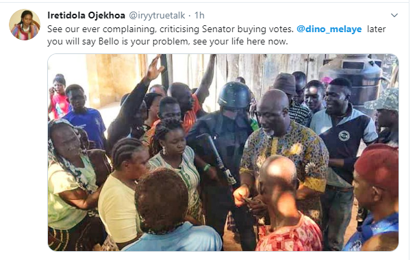 Kogi Election: Opinions divided as Dino Melaye pays woman to fry and share akara to voters (video)