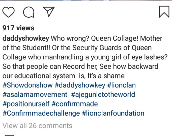 """How can you be videoing a student in your school?"" Daddy Showkey reacts to video of Queen"