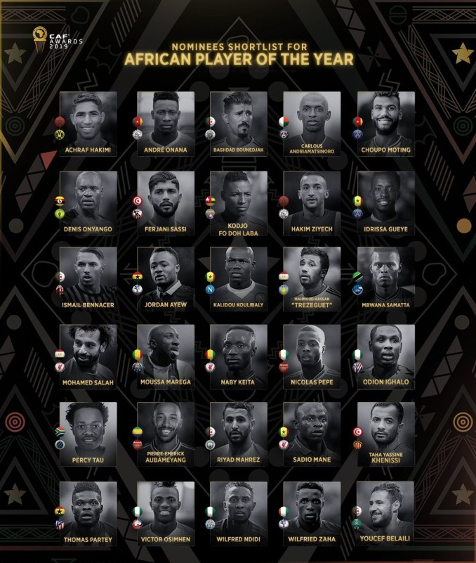 Ndidi, Ighalo, and Osimhen shortlisted in 30-man list for 2019 African Player of the Year Award