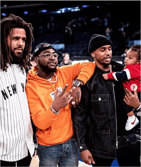 Davido pictured with J.Cole, Trey Songz and his son Noah