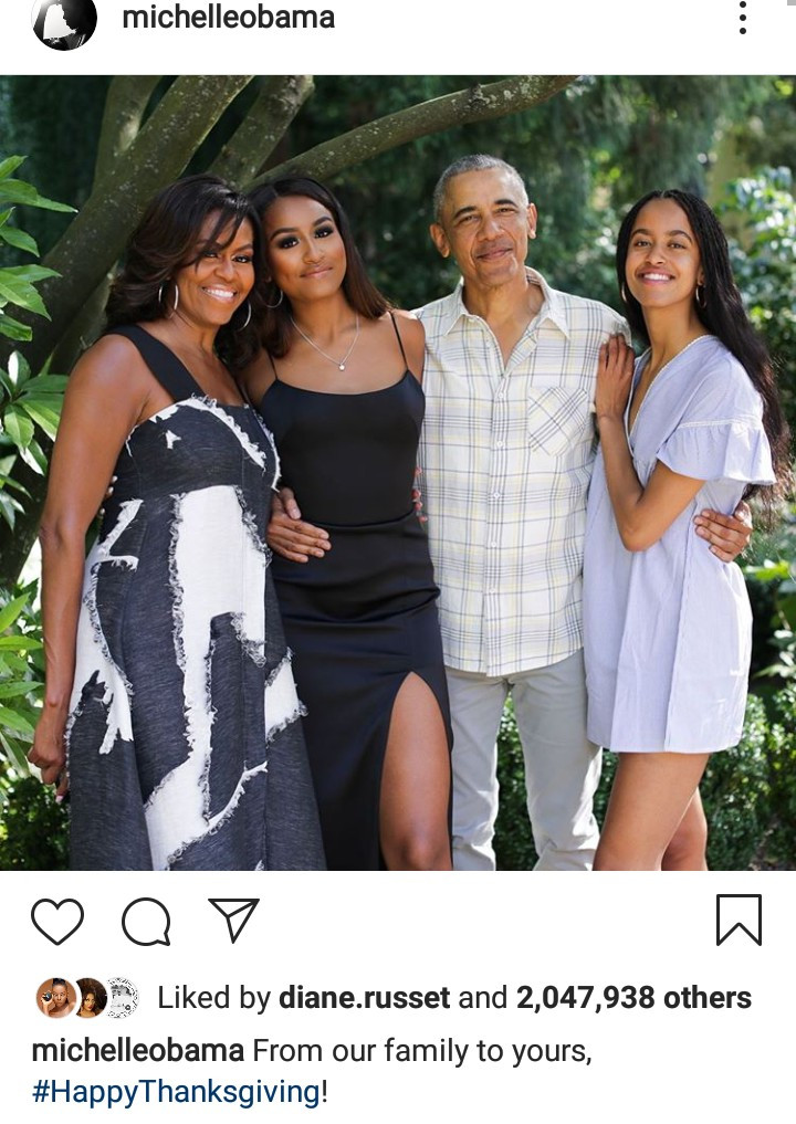 The Obamas release beautiful family photo to mark Thanksgiving