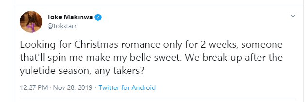 Toke Makinwa flags off search for Christmas romance with someone she will break up with after 2 weeks