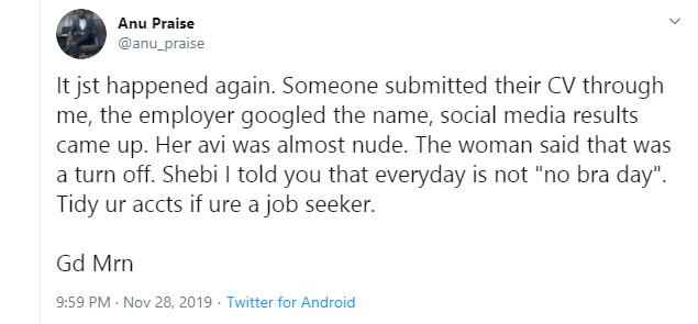Lady loses employment opportunity over semi-nude DP on social media