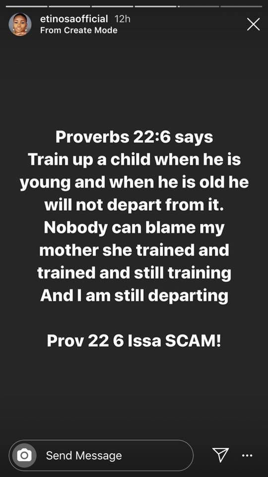 Actress Etinosa says Proverbs 22vs6 is a scam as she smokes and uses the Bible as an ashtray