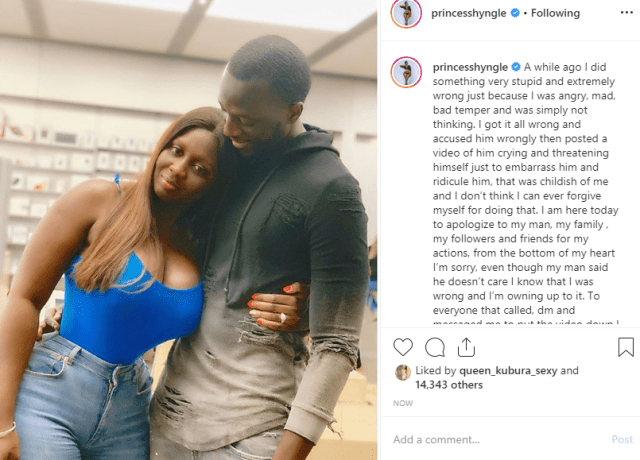 Princess Shyngle apologizes to her fiance, says she was wrong to publicly shame him on Instagram
