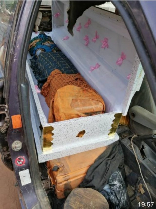 Smuggler hides 385 litres of petrol in 2 caskets
