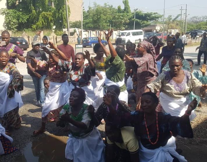 Photos: Elderly women strip to their bras to protest in court over Omoyele Sowore