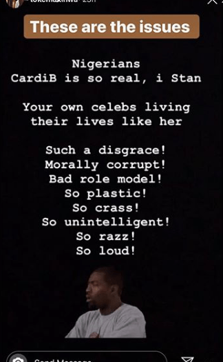 Toke Makinwa tackles Nigerians complimenting Cardi B for being