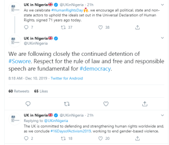 UK government speaks on Sowore