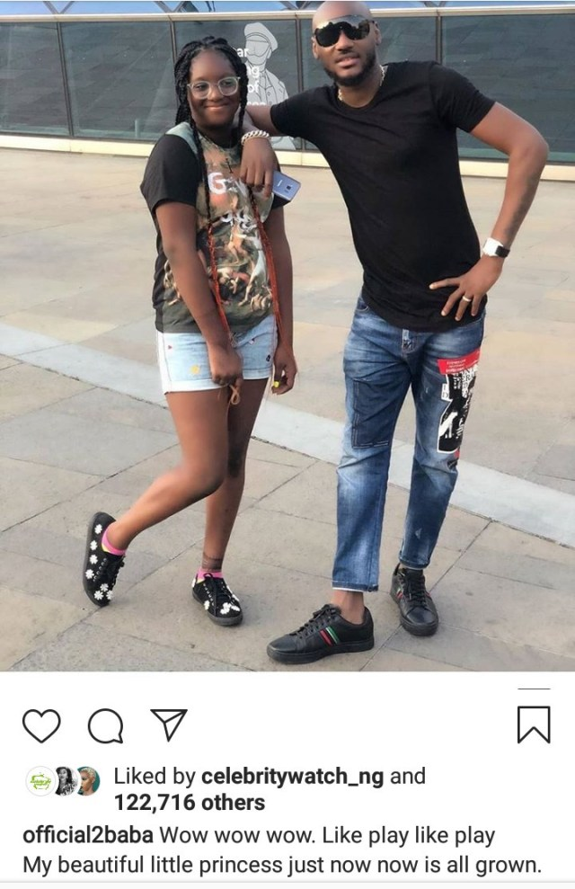 Tuface Idibia shares photo taken with his daughter Isabella and she