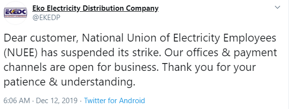 Electricity workers suspend nationwide strike action