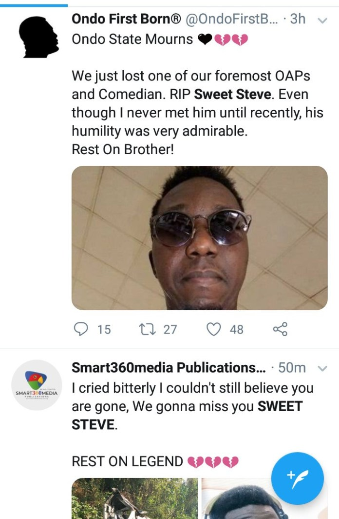Nigerians mourn as popular Ondo OAP and comedian, Sweet Steve dies in an accident this morning