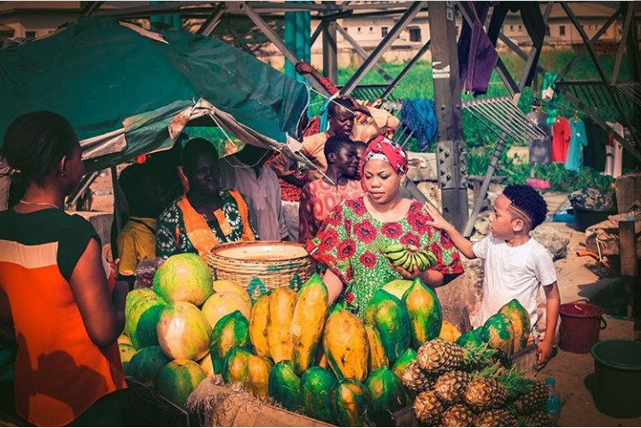 Toyin Lawani makes her son hawk fruits on the street for his 6th birthday photoshoot to teach him important values