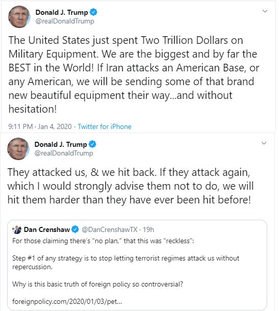 We just spent two trillion Dollars on Military Equipment,  If Iran attacks an American Base we