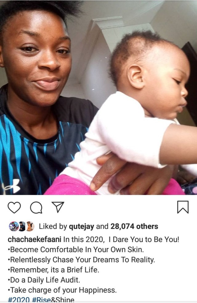 Chacha Eke Faani goes natural as she advises her followers to be comfortable in their skin