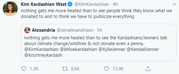 Kim Kardashian shuts down Twitter user who called her family out for not donating to fight the Australia wildfires