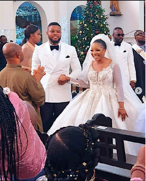 Photos and videos from event planner Sandra Ikeji and her husband Arinze Samuel's grand wedding in Lagos
