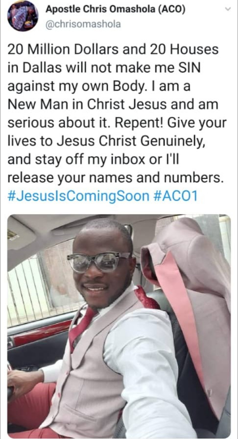 "Apostle Chris Omashola reveals rich ""sugar mummies and Lekki big girls"" are sending him nudes and begging him for sex after Naira Marley reshared his sextape"