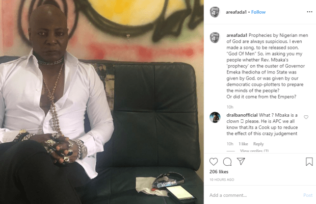 Prophecies by Nigerian men of God are always suspicious - Charly Boy reacts to Rev. Mbaka