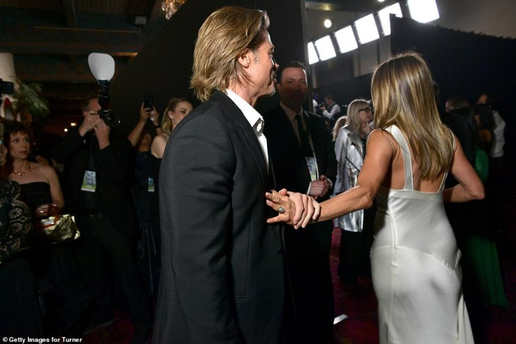 Exes Brad Pitt and Jennifer Aniston reunite as they hug each other at the 2020 SAG Awards (Photos)